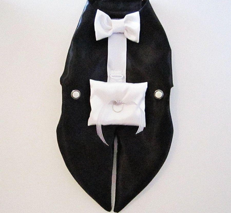 Dog Tuxedo Harness Vest: Ring Bearer Formal Wedding Wear For Dogs White or  Black or The (I) word meaning an off white color - Dog Tuxedo Harness Vest: Ring Bearer Formal Wedding Wear For Dogs