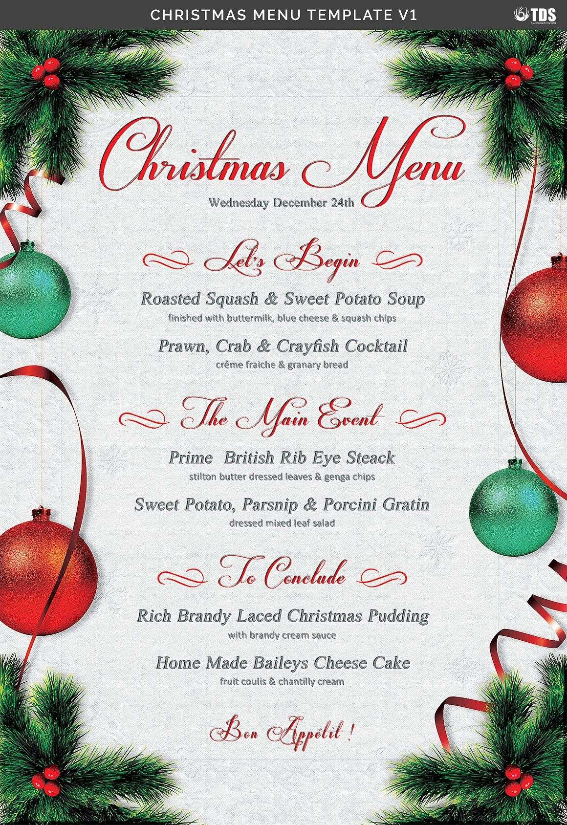 Christmas Menu Template V1 By Thats Design Store Ad Menu
