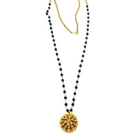 Vintage Gold Etched Floral Pendant Lapis Beaded Chain Necklace