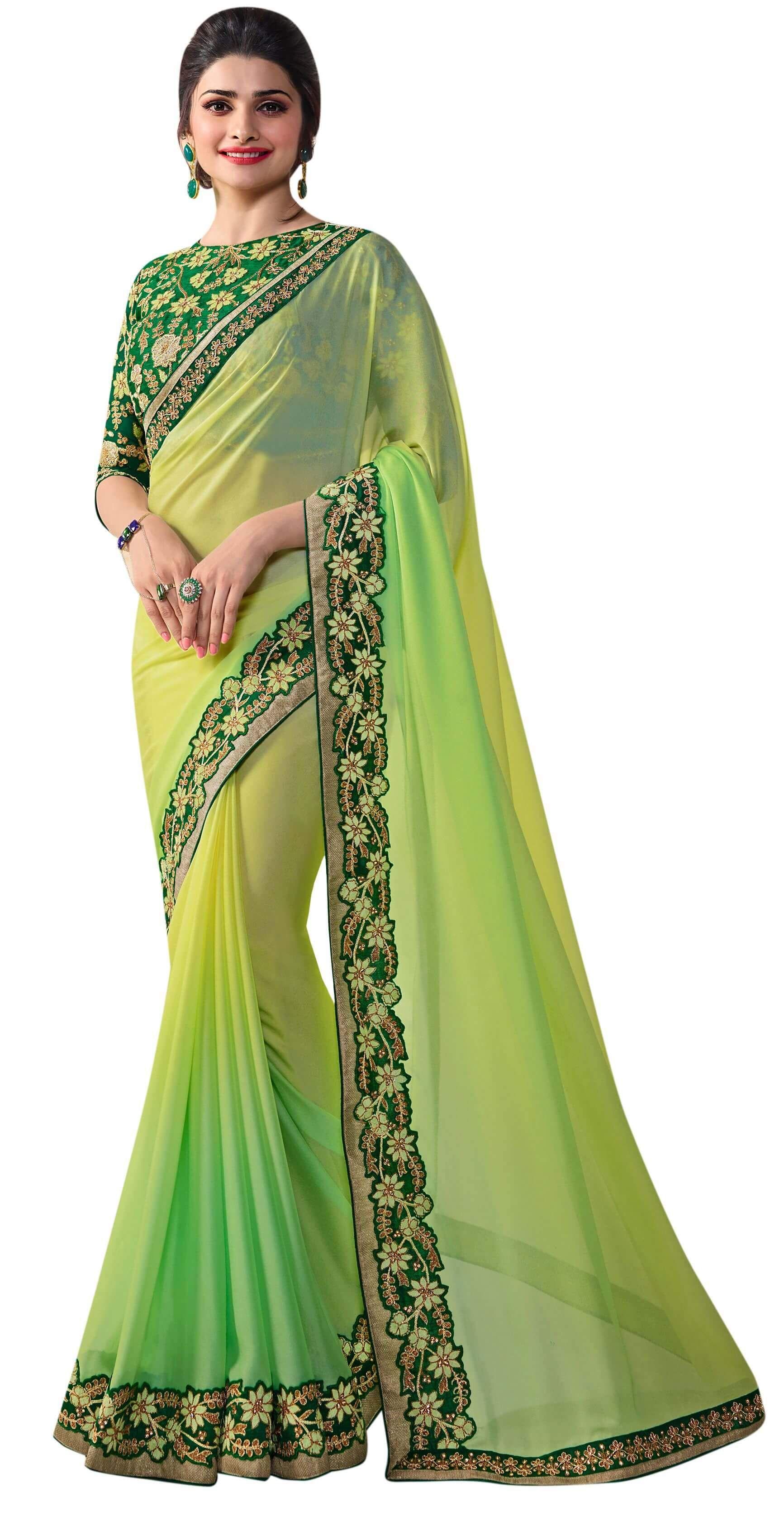 2774d092c7d709 Green Fancy Silk Party Wear Saree | Saree | Saree, Party wear sarees ...