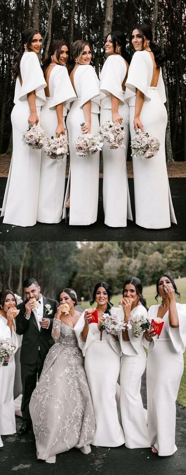 Fashion Unique Design Deep V Neck Floor Length White Satin Bridesmaid Dresses W Satin Bridesmaid Dresses White Bridesmaid Dresses White Bridesmaid Dresses Long