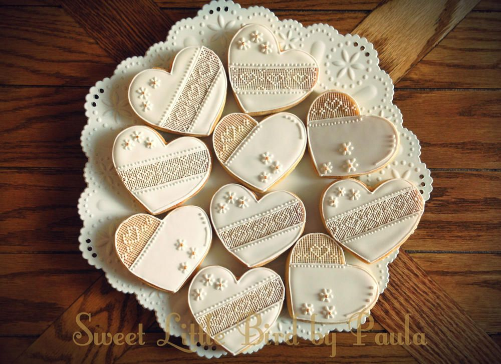 Bridal shower cookies, hearts with lace & flowers by Sweet