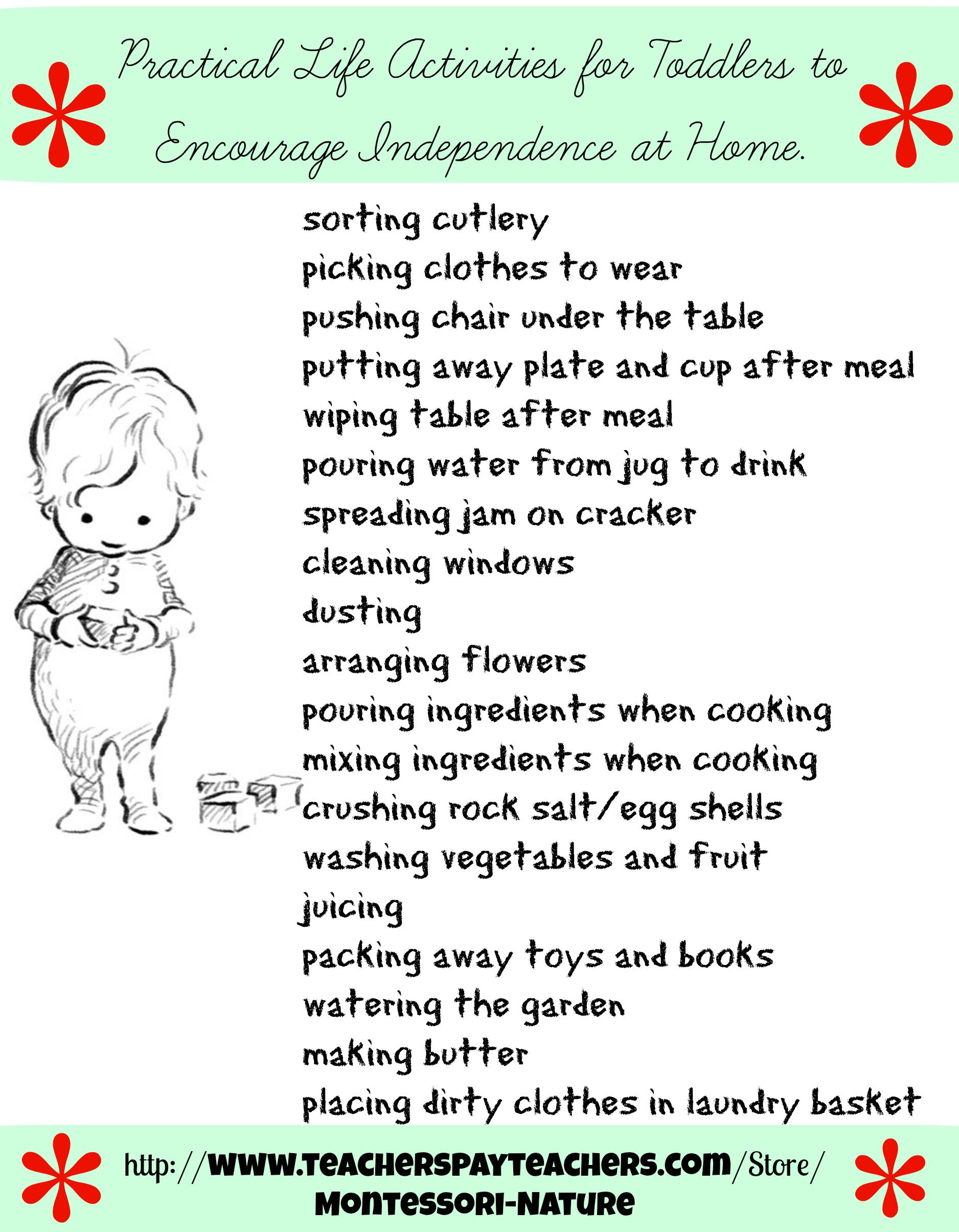 Here is a list of activities to encourage my toddler s