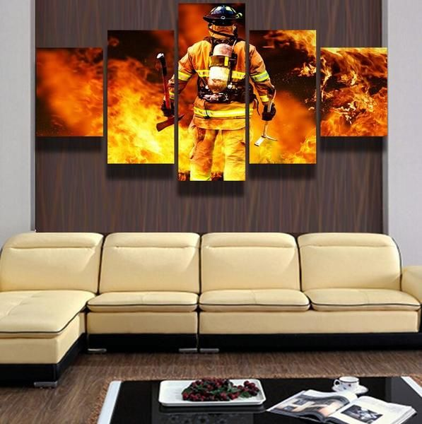 Firefighter Printed Canvas Painting Wall Decor Painting Canvas Living Room Canvas Painting 5 Panel Wall Art