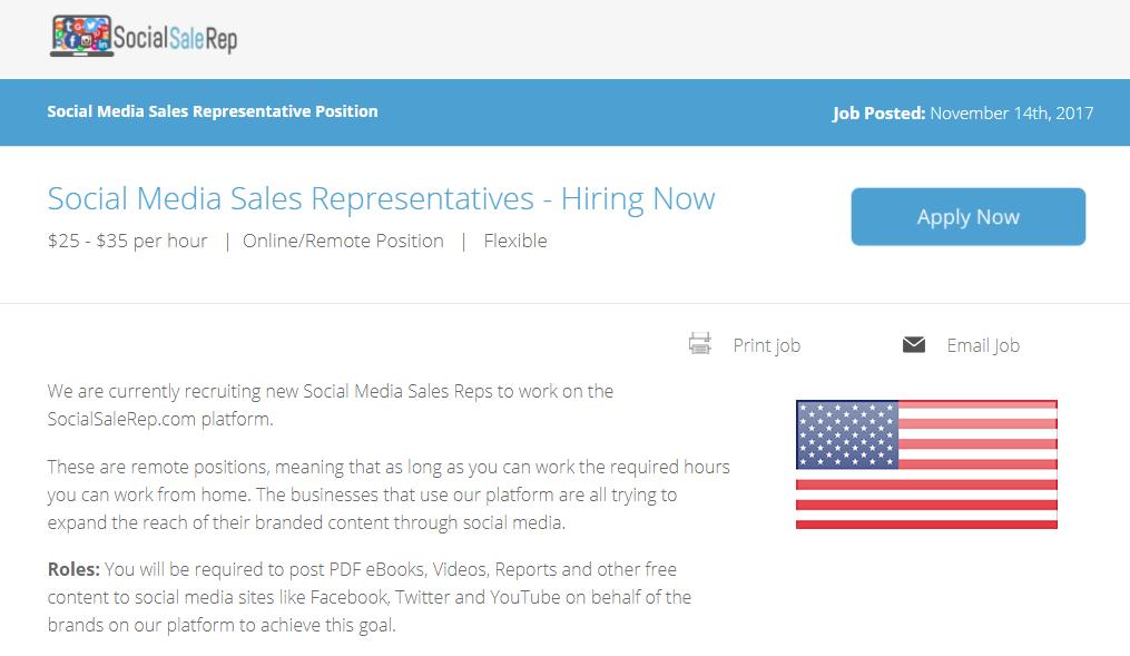 Social Sale Rep Job Posting  My Reviews