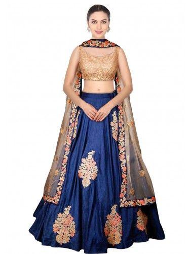 7fa733ddf643 Dove Blue Multi Thread Work Raw Silk Lehenga Choli   Dupatta Set. - Buy  Blue Silk Embroidered Lehenga For only Rs.3