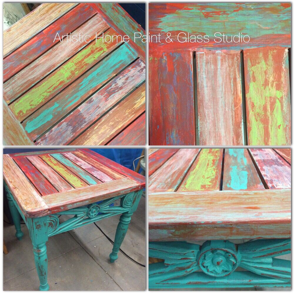 Rustic Chippy Distressed And Colorful End Table Painted With