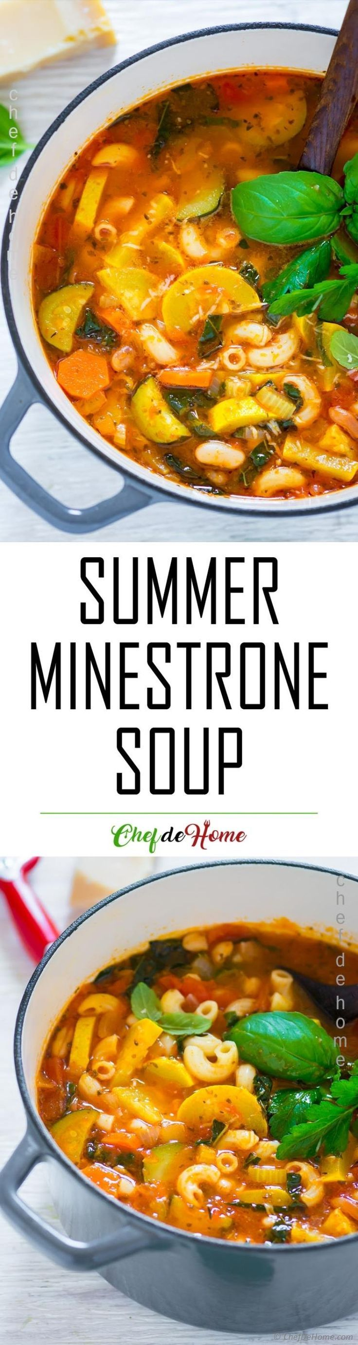 Simple minestrone soup with summer pumpkin noodles and beans