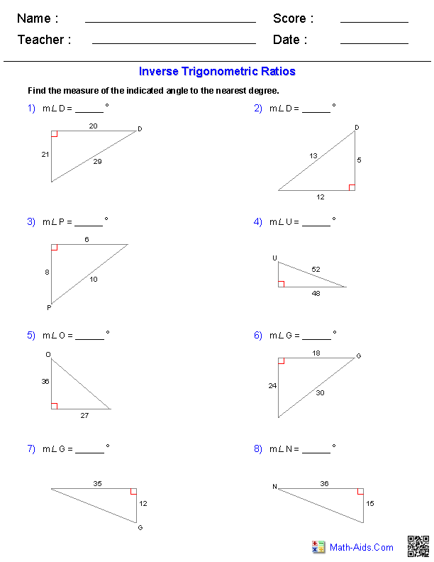 Inverse Trigonometric Ratios Worksheets | Math-Aids.Com ...