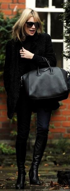 Black boots and black handbag