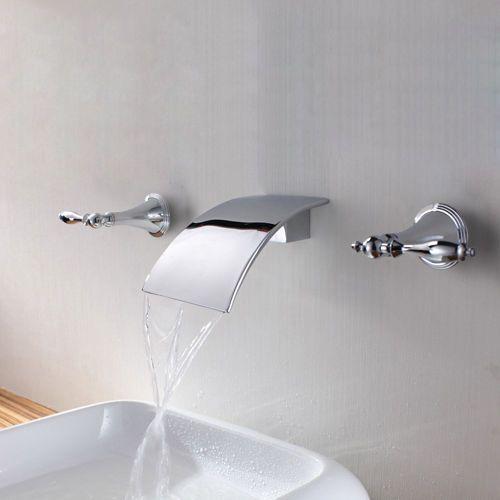 Modern Waterfall Wall Mounted Chrome Bath Vessel Faucet Basin Tap Free Shipping Wall Mount Faucet Bathroom Sink Waterfall Wall Bathroom Mixer Taps