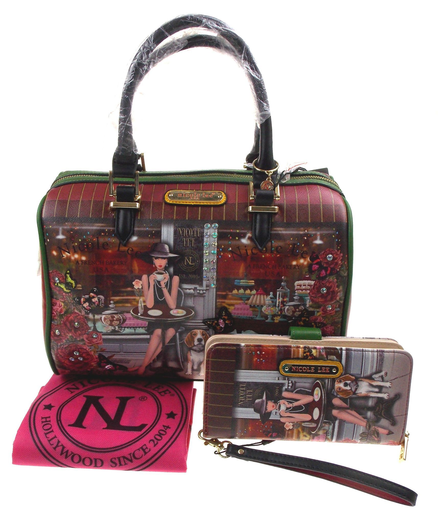 f2f698c87bfb Nicole Lee Lauren Goes Coffee Break Print Boston Handbag   Wallet LAU11664  Purse