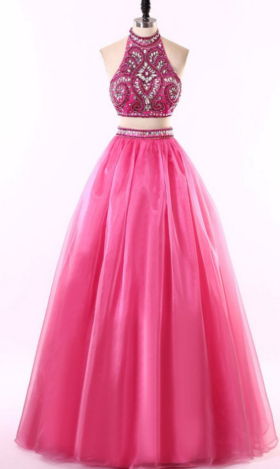 Hot pink tulle two pieces prom dress, beading | My dream closet ...