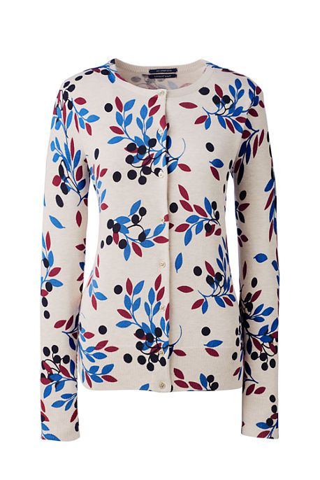 7c3e27b918ec2f Women s Supima Print Cardigan Sweater from Lands  End Vintage Birch Berries