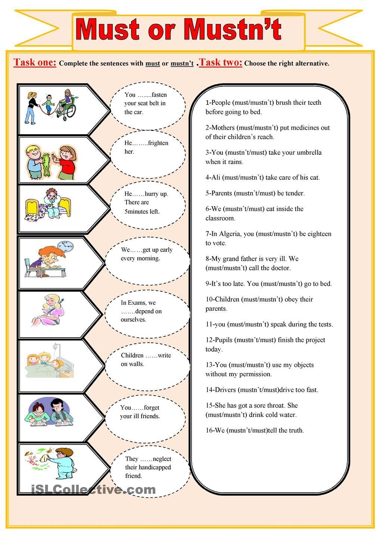 must-mustn\'t. | Grammar | Pinterest | Englisch lernen, Englisch und ...