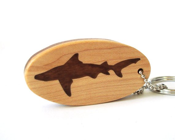 Wooden Key Ring Whale