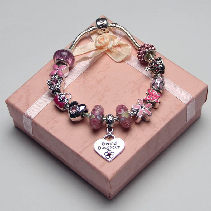 Pandora Children S Pink Charm Bracelet Granddaughter Jewelry Love Silver Crystal Artificial