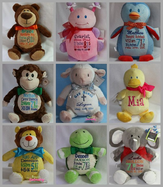 Personalized stuffed animal birth announcement stuffed animal personalized baby gift new baby birth by reneesembroidery on etsy 4500 negle Gallery