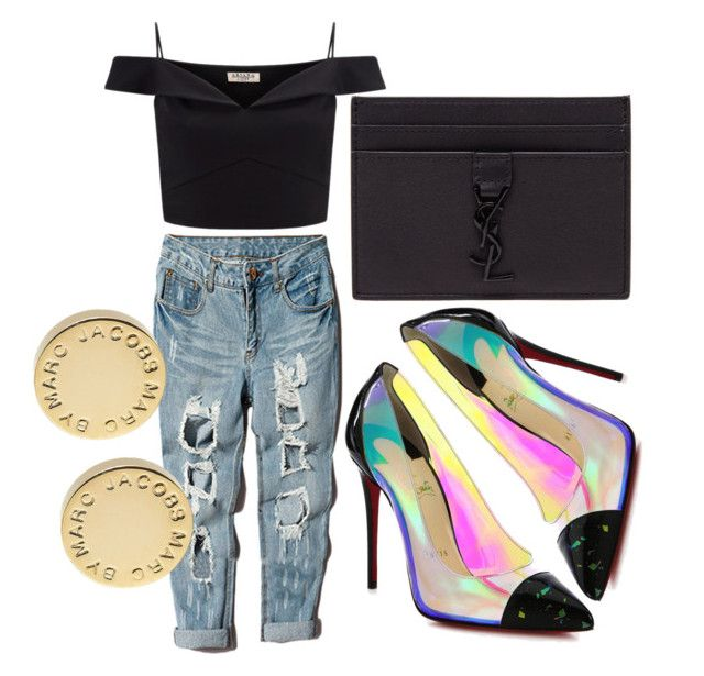 """""""UNTITLED"""" by kompaktt on Polyvore featuring Lipsy, Christian Louboutin, Yves Saint Laurent and Marc by Marc Jacobs"""