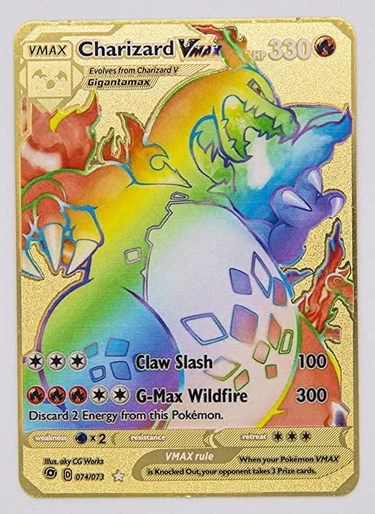 Photo of Pokemon CHARIZARD VMAX 74/73 CHAMPION'S PATH GOLD METALCUSTOM CARD HYPER RARE