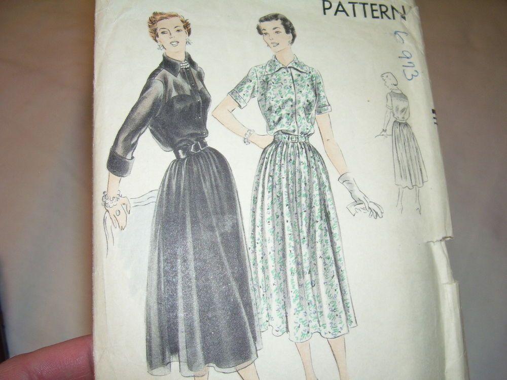 Vintage Vogue Sheer Sleeve Shirt Dress Pattern Size 14 Bust 32 1950 50's #6973…