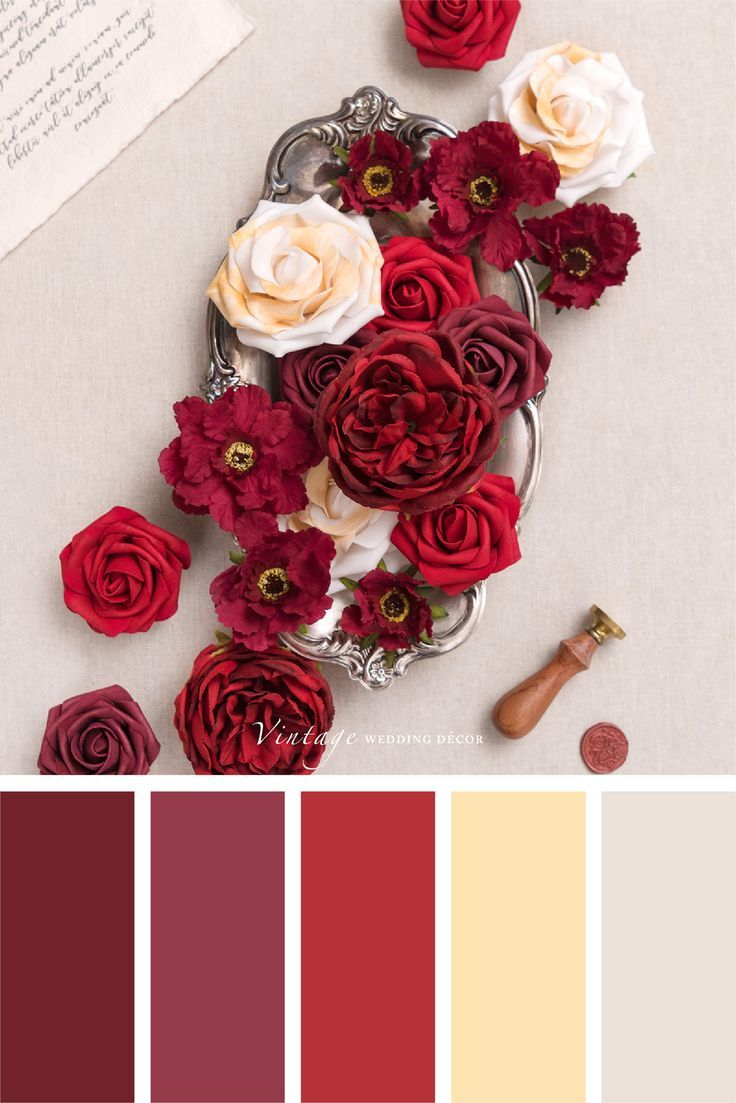Deluxe Burgundy Flowers Box Set 5 Styles In 2020 Red Colour Palette Color Schemes Colour Palettes Fall Color Palette