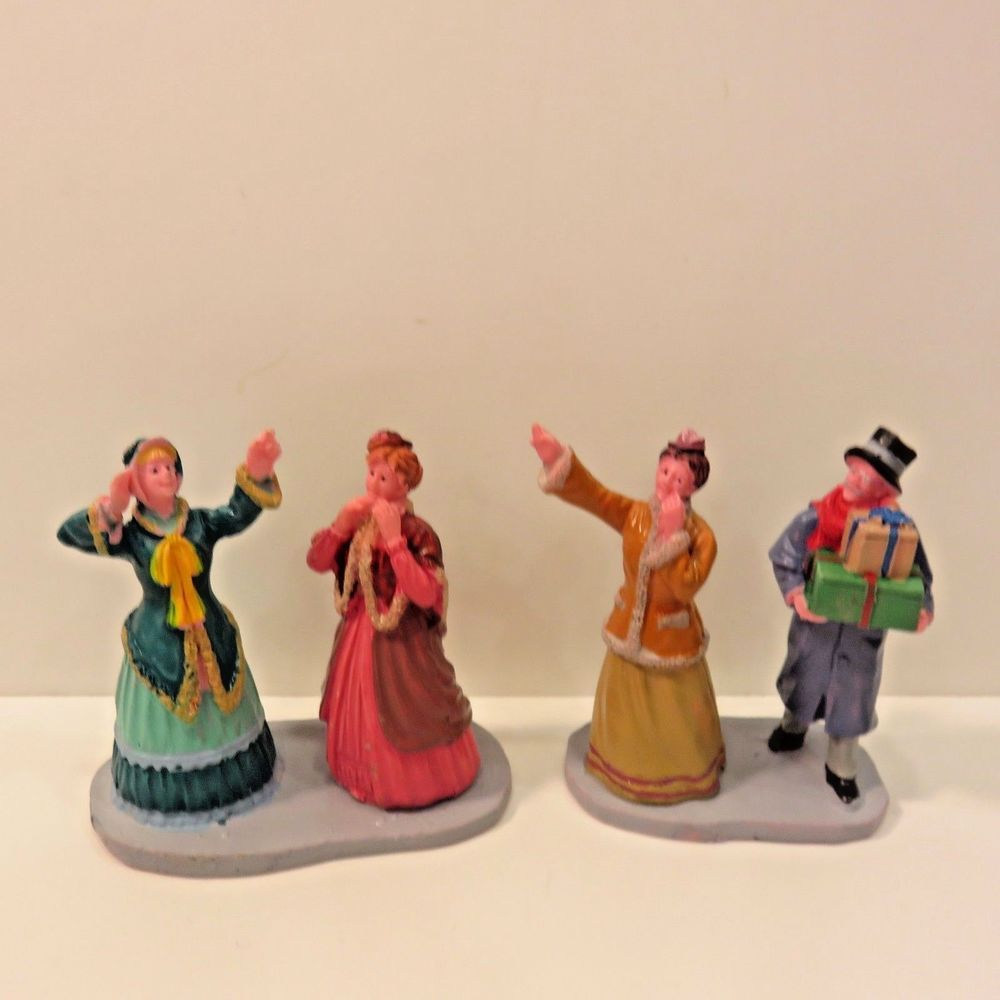 Lemax holiday village figures piece window shoppers repaired