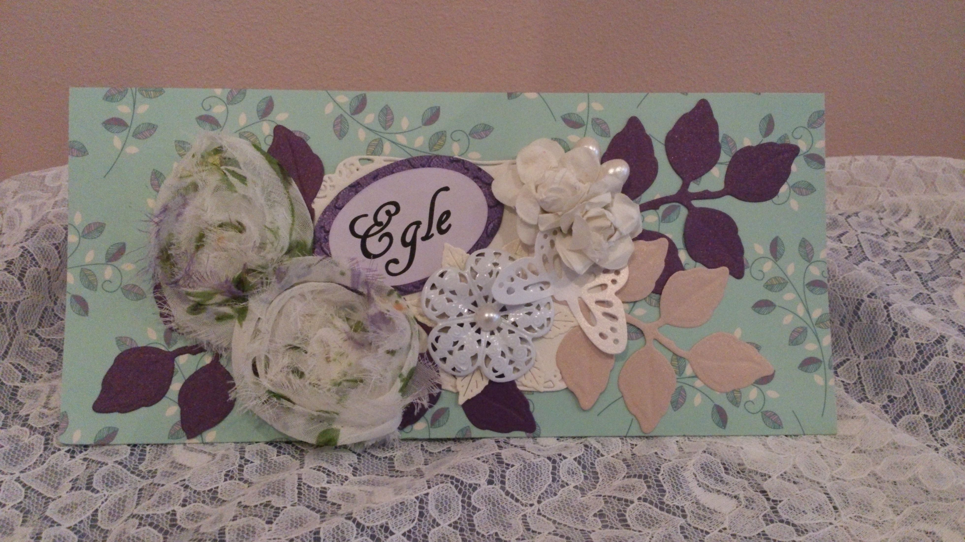 Textile, metal and paper flowers on a pocket-card made for 40-th birthday