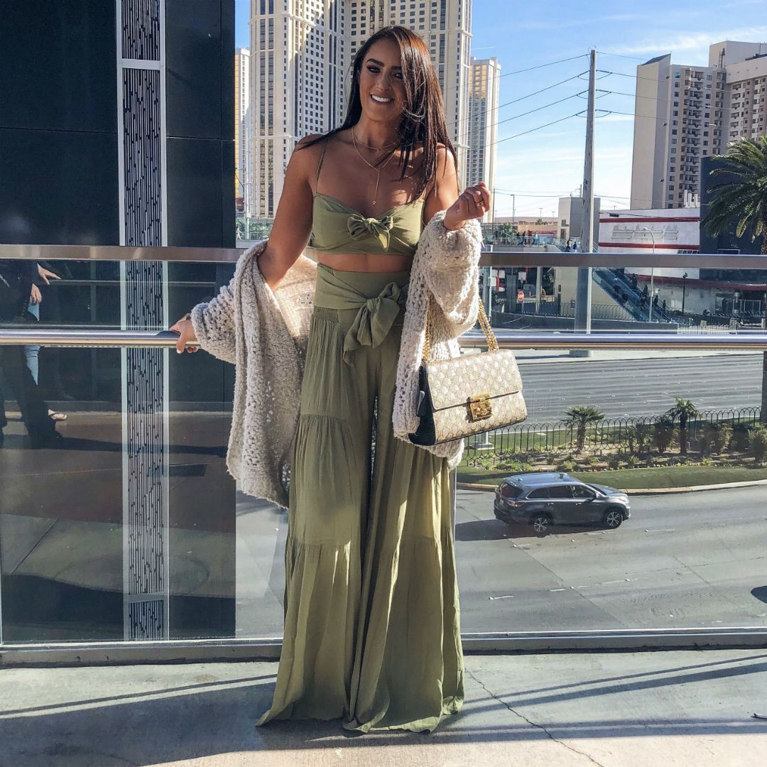 65b2caf5daa7 Blogger Sarah Lindner of The House of sequins wearing Free People Free  People Palermo Set. What to wear while visiting las vegas strip