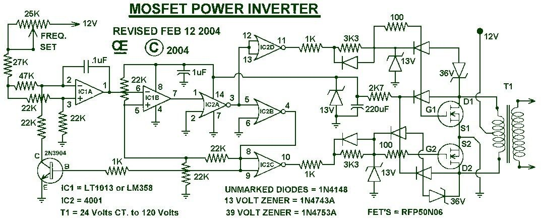 1000w Power Inverter Circuit Diagram This Is The Power Inverter Circuit Based Mosfet Rfp50n06 The Inverte Power Inverters Circuit Diagram Electronics Circuit