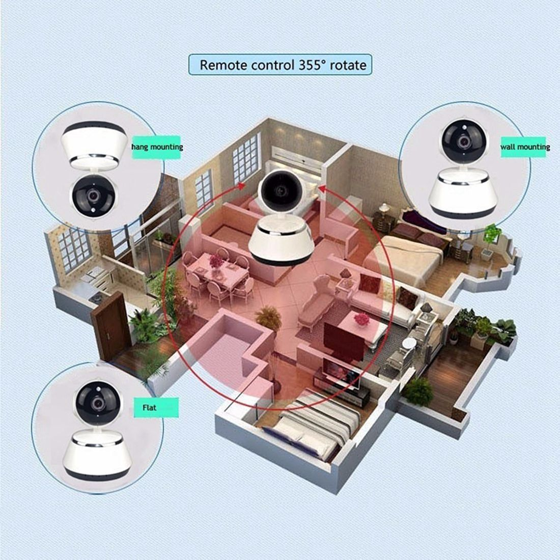 EWETON 720P MegaPixel Wireless Camera Baby Monitor /& Home Security Camera V380