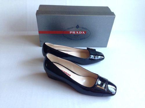 Prada Calzature Donna Vernice Bicolo Patent Leather Women Wedge Shoes Black  36 75f4e17f89