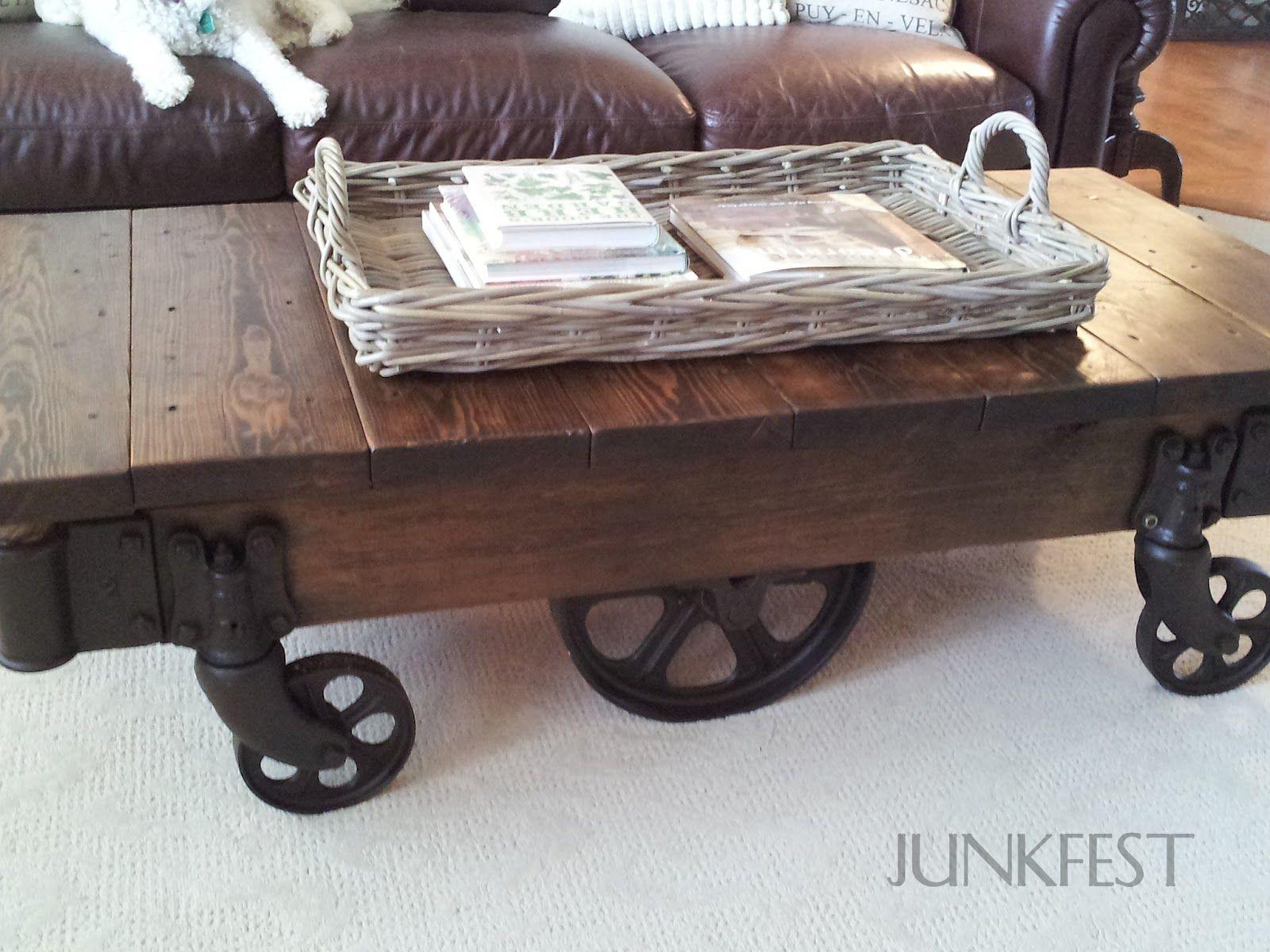 industrial cart coffee table creative