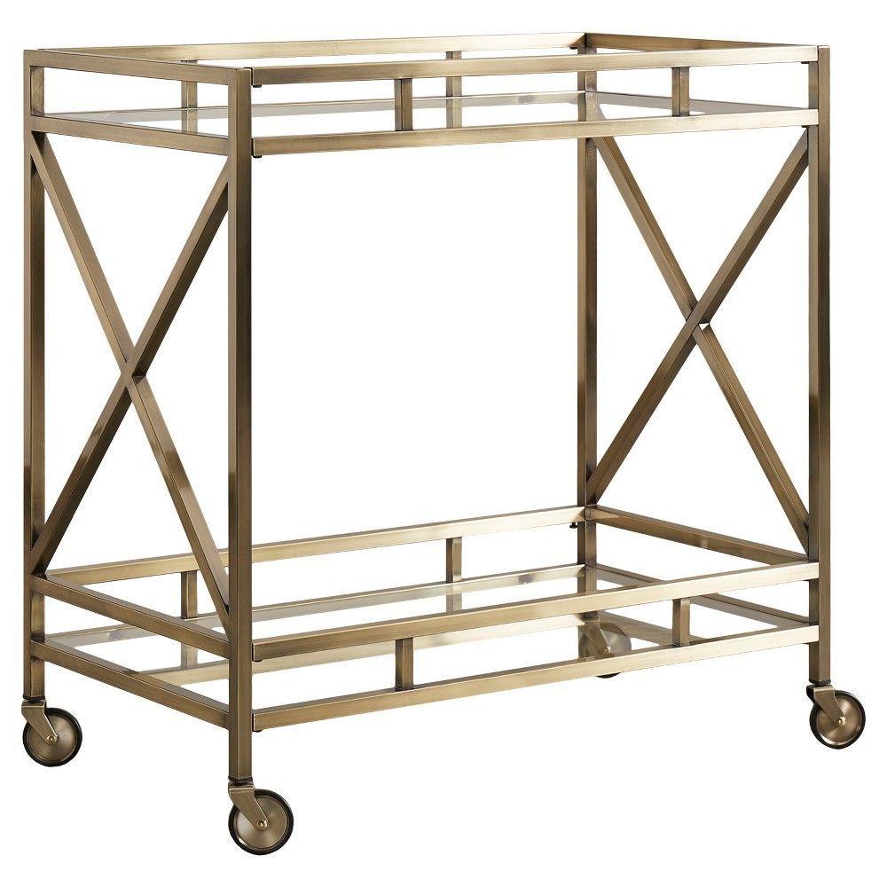 Eloise Metal + Glass Bar Cart - Antique Brass - Inspire Q