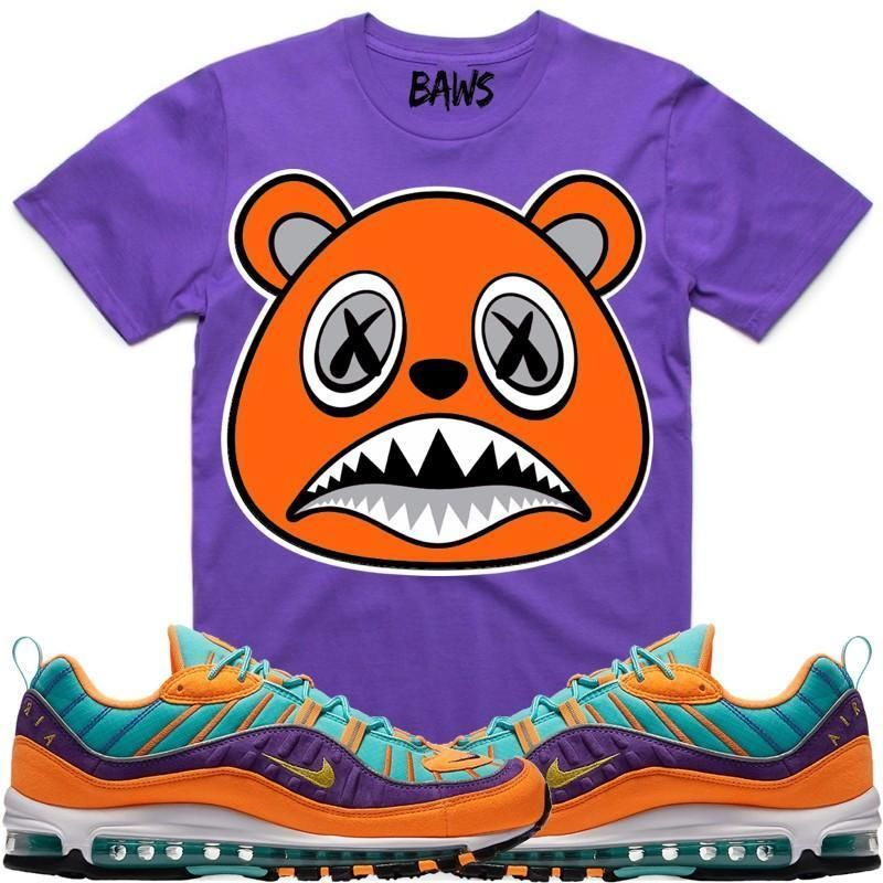 ORANGE BAWS Purple Sneaker Tees Shirt Nike Air Max 98 Cone