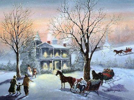 Обои Дети и взрослые гуляют возле дома в Рождество | Art ...