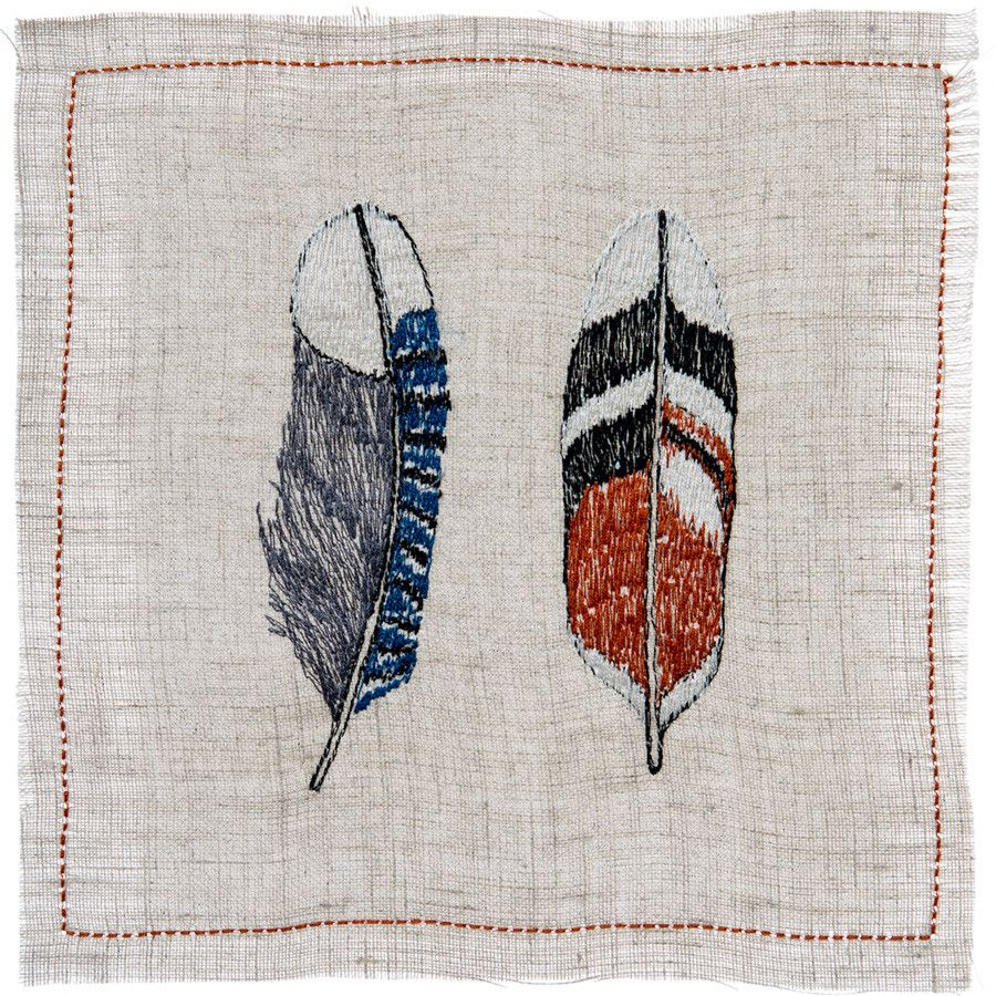 Coral and Tusk - bluejay & oriole feather cocktail napkins