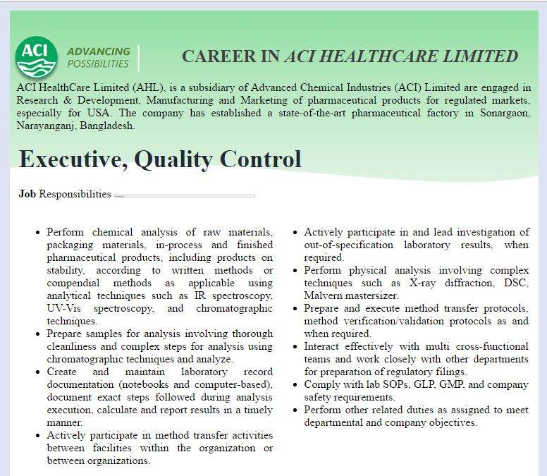 ACI HealthCare Limited Executive, Quality Control Job Circular