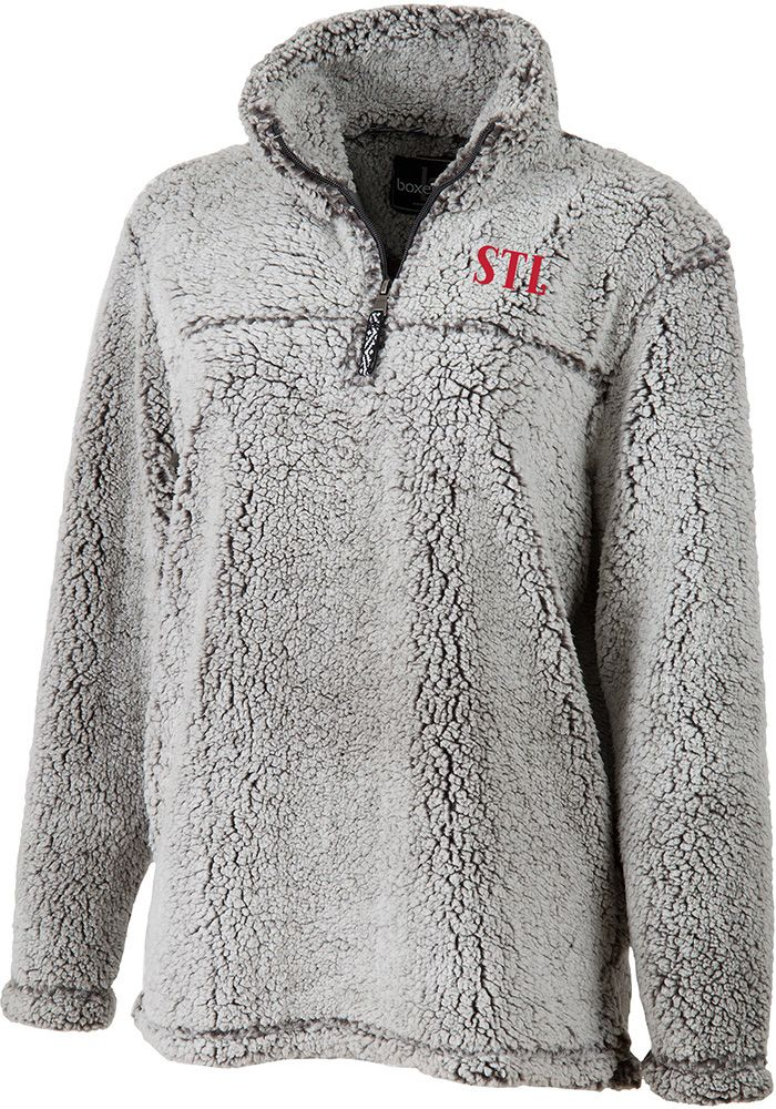 135ca64f1c68e5 St Louis Womens Grey Long Sleeve Sherpa 1/4 Zip Pullover, Grey, 100%  POLYESTER, Size 2XL