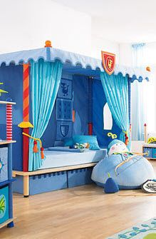 I love a boys room with a canopy. How awesome are those Lance bed posts? & Kids canopy bed (boys: knight) - KNIGHT - HABA | House: Misc ...