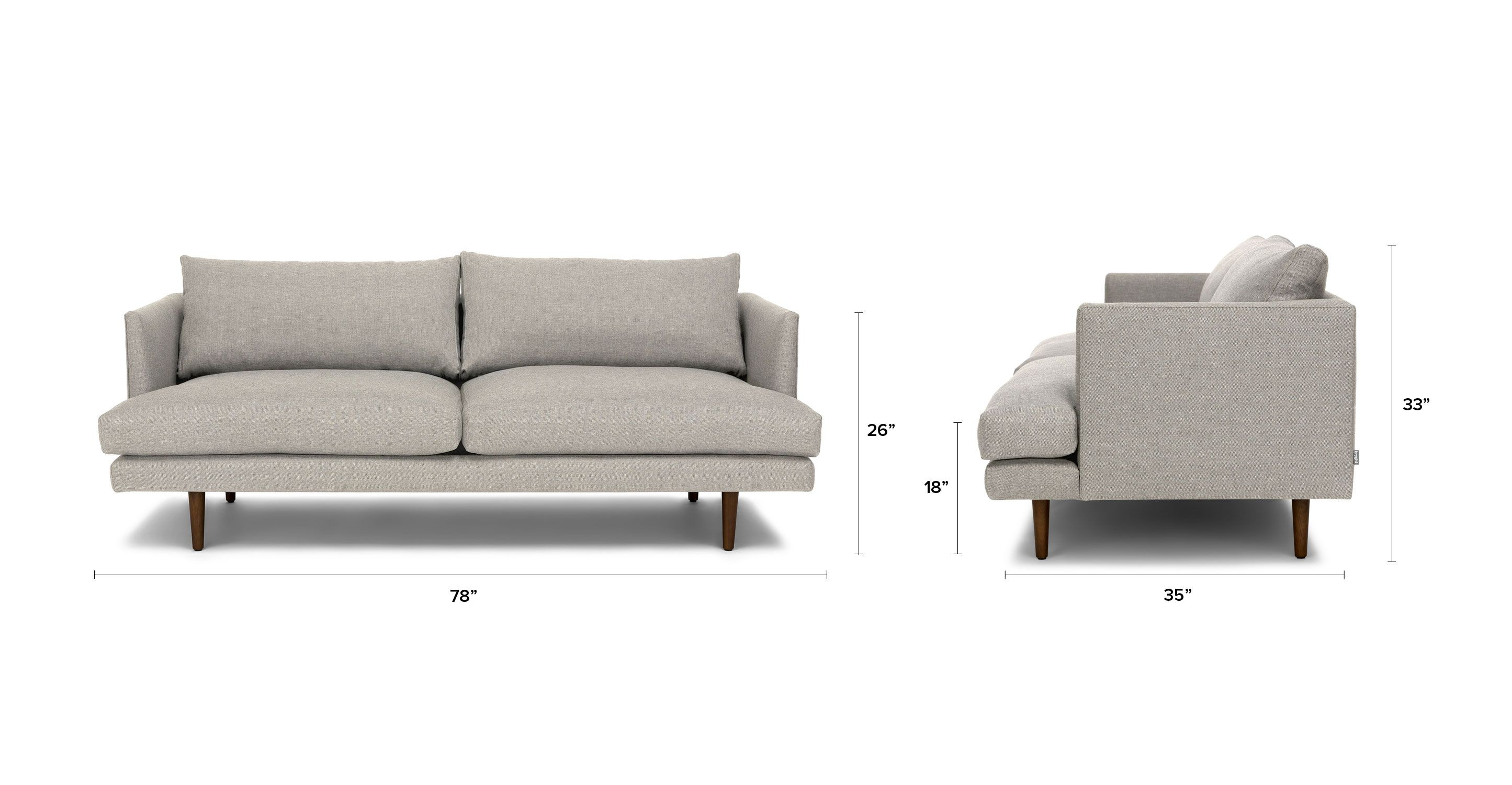 Light Gray Sofa With Solid Wood Legs Article Burrard Modern