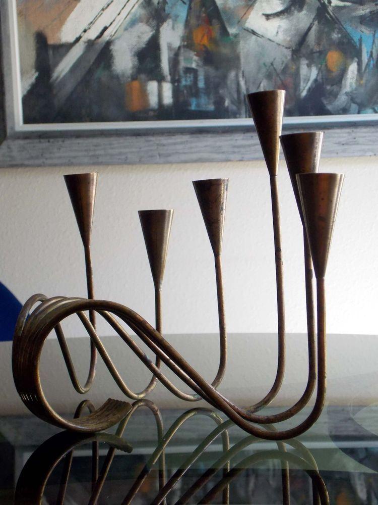Vintage Mid Century Scandinavian Brass Candle Holder Norway Dansk Aubock Era