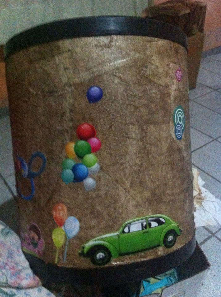 Caixa para guardar  brinquedo. Reciclada com filtro de cafe