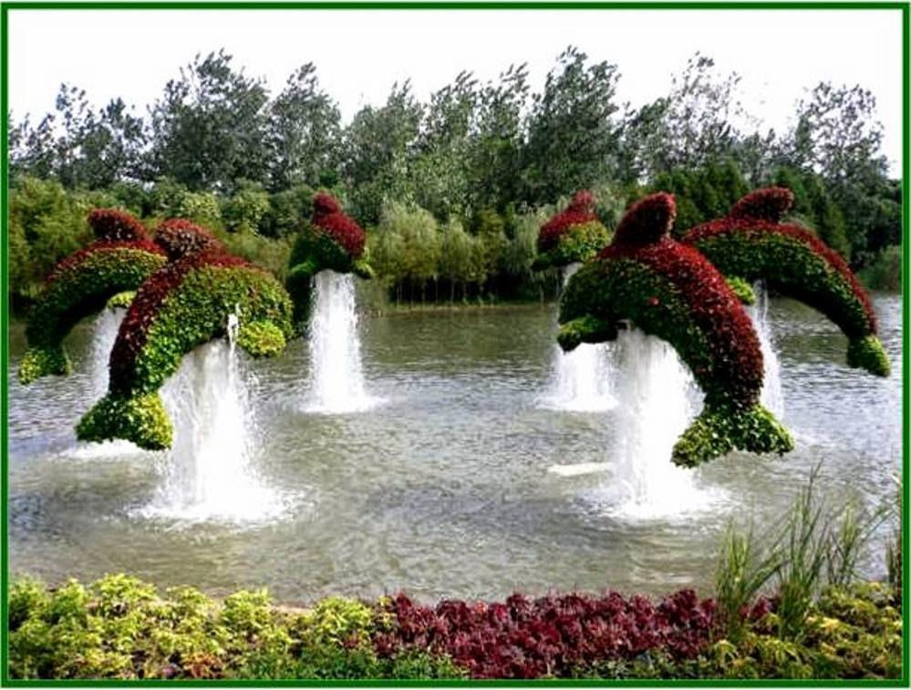 Jardines con figuras de animales y de figuras de for Figuras para jardin