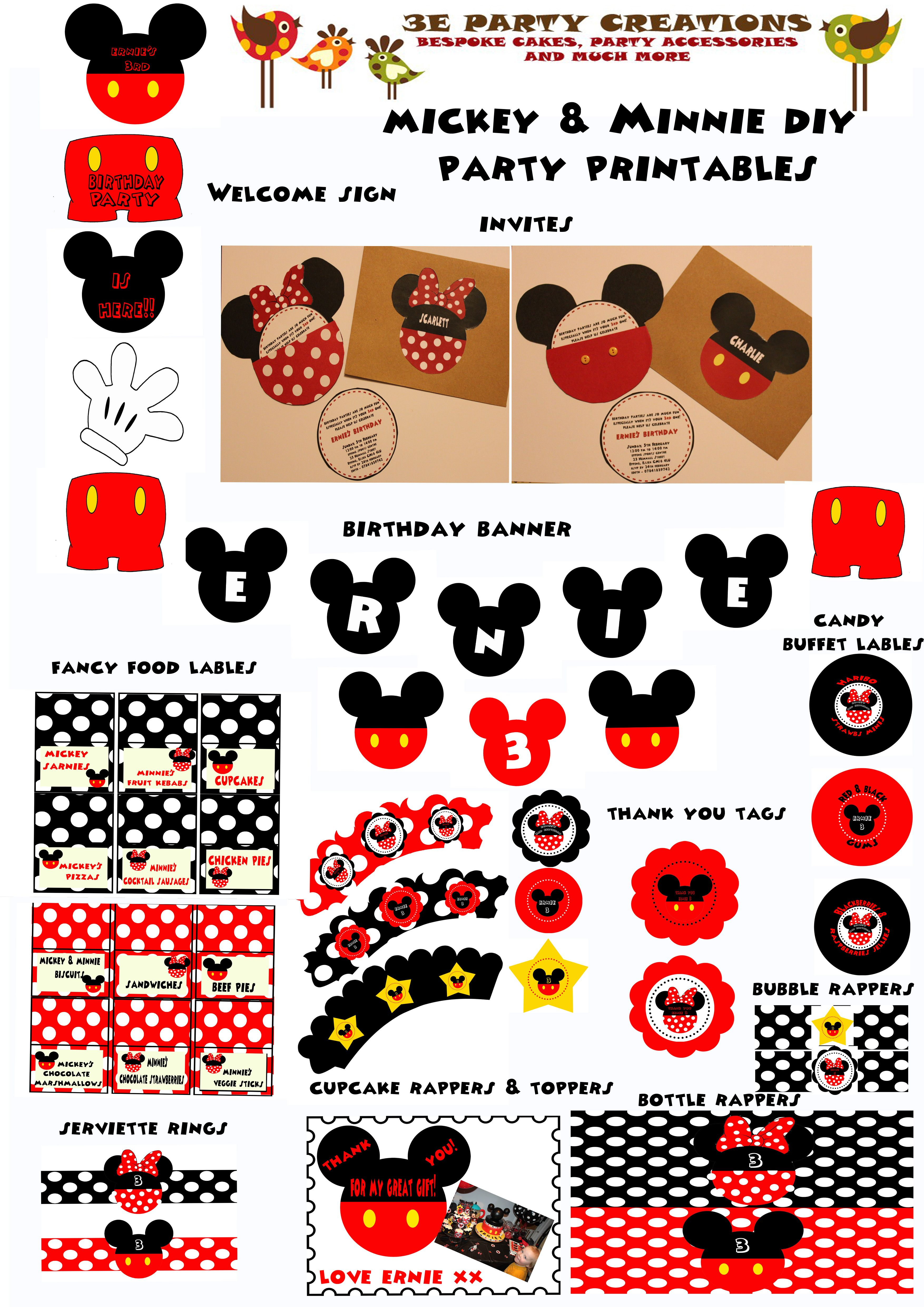 Mickey and Minnie Mouse DIY Party Printables | David\'s first bday ...