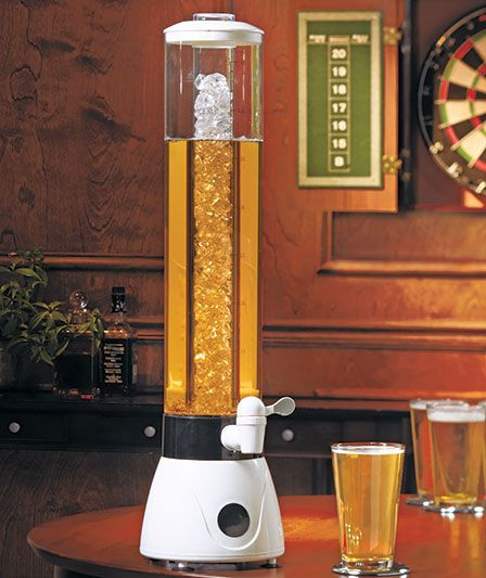 a Brewtender Drink Tower ~ Fill the inside tube with ice and the outer tube with 128 ounces of your favorite beverage, from beer to margaritas, sodas to lemonade. great for parties and you can put glow sticks in the middle where the ice is too.