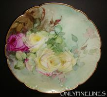 Beautiful - Haviland Limoges - France - Plate - Romantic Victorian Bouquet - Antique Yellow - Crimson Pink - Tea Roses - Gold Scalloped Rim - Artist Signed - One-of-a-Kind - Excellent Condition - Vintage French Heirloom