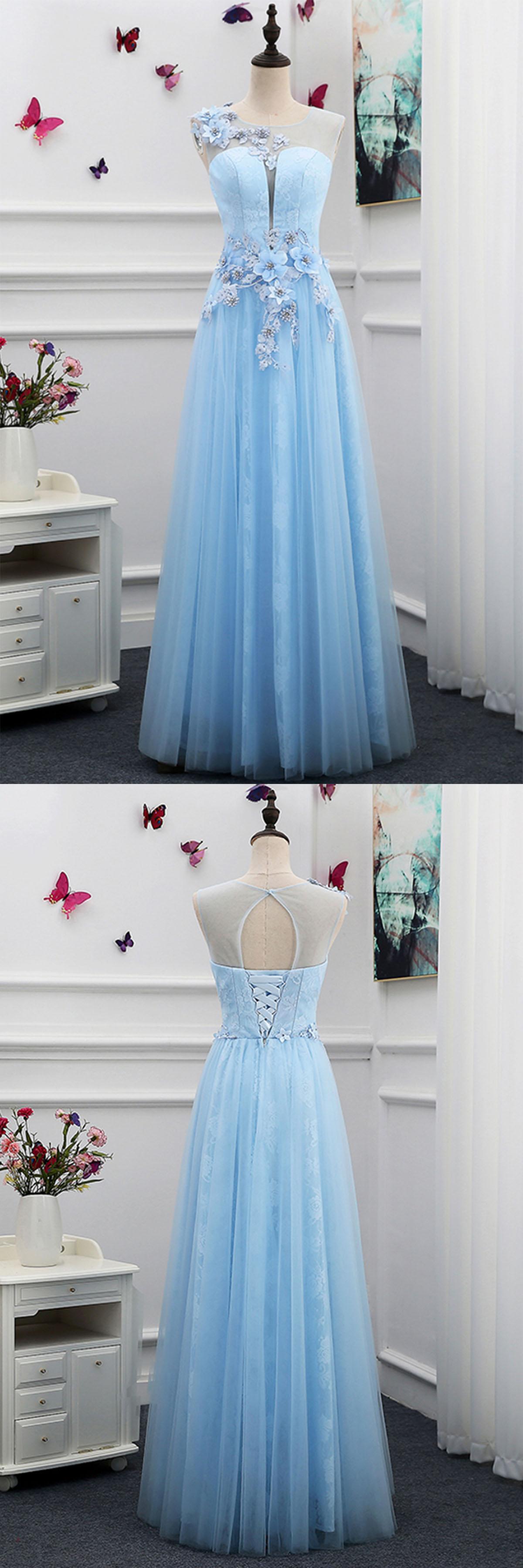 Unique light blue tulle floor length 3D flower halter formal prom ...