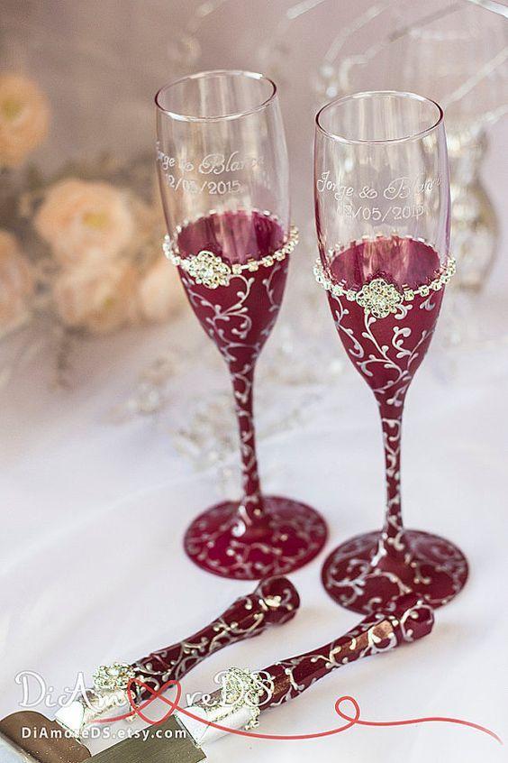 copas para novios: ideas para decorar copas de brindis de bodas