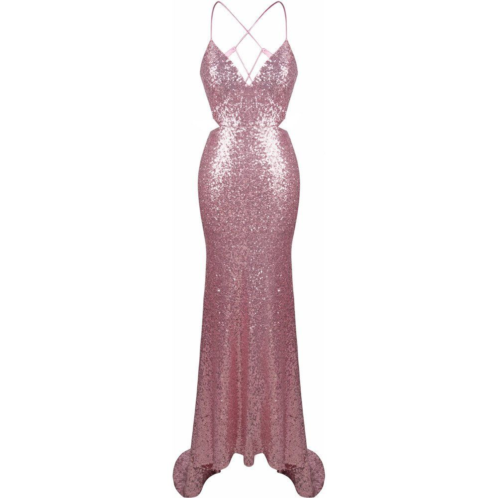 Sequinned baby pink slip prom dress prom and cotton